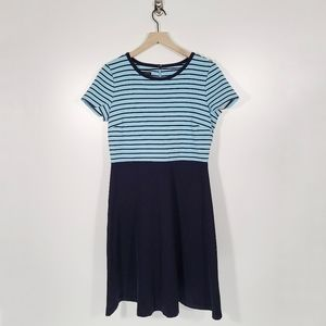 Talbots Short Sleeve Striped Fit And Flare Dress